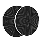 2 Pack Weather Stripping Foam Tape - Weather Seal Weatherstrip Self Adhesive Black Tape - for Windows, Doors, Home Improvement - 17 feet length