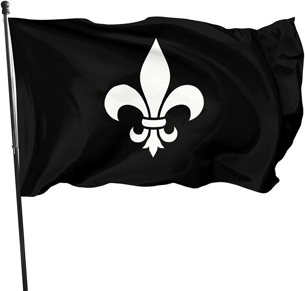 Fleur De Lis 3x5 FT American Flag, Outdoor Banner, Family Banner, Garden Banner Black