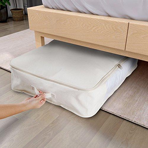 lifewit rangement sous lit sac de rangement housse en tissu pliable taille ultra grande pour literie couette couverture oreiller vtements 2 pices beige - Rangement Sous Lit