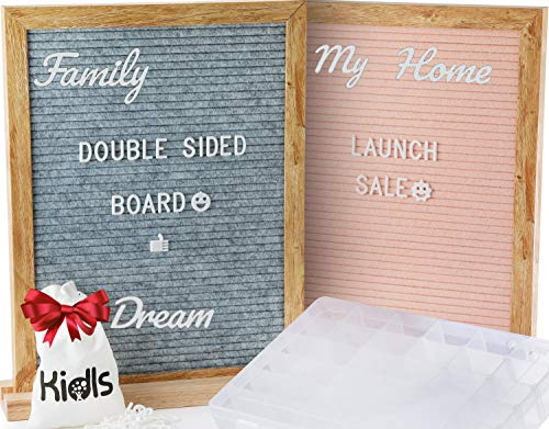 Premium Reversible Felt Letter Board Gray & Pink with 650 Changeable Letters, Numbers, Symbols & Emojis - 11x14 inches Oak Frame with Wood Block Stand. FREE BONUS: letters Organizer Case + Storage Bag ()