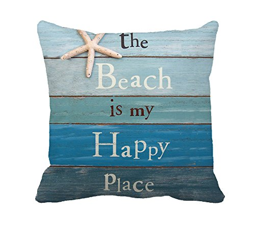 """The Beach Is My Happy Place Throw Pillow Case Cushion Cover Decorative 18\"""" x 18\""""(Starfish and Rhinestone)"""