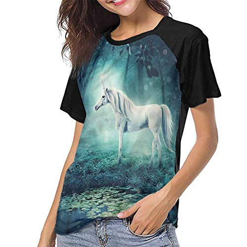 Casual T Shirts,Fantasy,Enchanted Forest Unicorn S-XXL Tee Tshirts Women