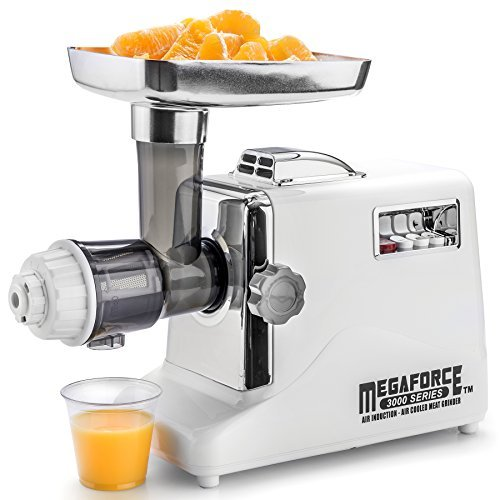 (STX International Model STX-3000-MFJPD, Megaforce Patented Air-Cooled Electric Meat Grinder, Variable Yield Juicer Attachment, and Foot Pedal Control )