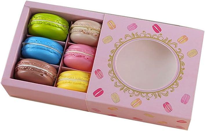 a-parts Macaron caja, contenedor de chocolate, galletas soporte con ventana, Hold 6 Macarons 10 paquetes cajas de regalo: Amazon.es: Hogar