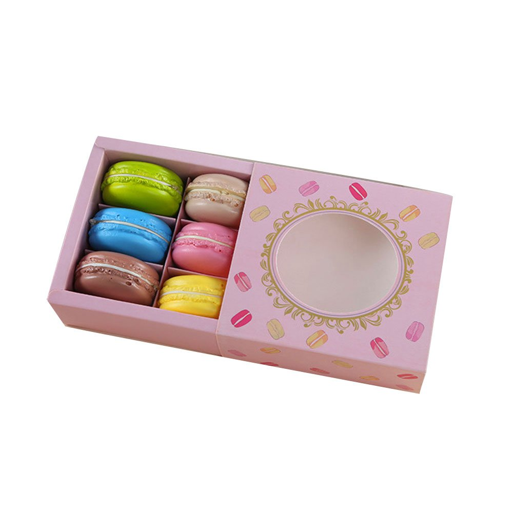 A-parts Macaron Box, Chocolate Container, Cookie Holder with Window, Hold 6 Macarons 10 Packs Gift Boxes without Macaron (Pink)