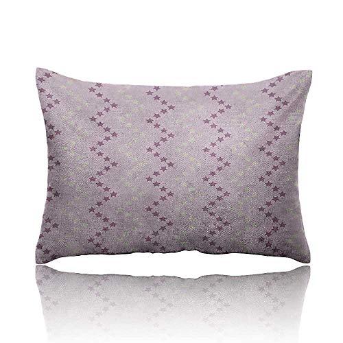 - homehot Mauve Mini Pillowcase Zig Zag Stars Striped Pattern in Pastel Color Ranking Choice Kids Artsy Print Fun Pillowcase 16