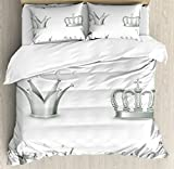 Silver Duvet Cover Set Queen Size by Ambesonne, Different Kinds of Antique Crowns Queen King Imperial Theme Vintage Symbol, Decorative 3 Piece Bedding Set with 2 Pillow Shams, Pale Green White