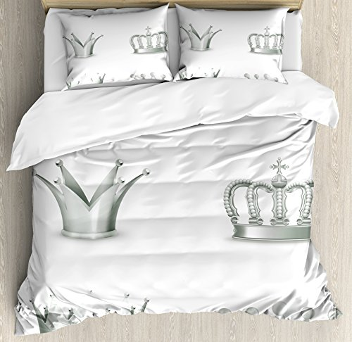 Silver Duvet Cover Set Queen Size by Ambesonne, Different Kinds of Antique Crowns Queen King Imperial Theme Vintage Symbol, Decorative 3 Piece Bedding Set with 2 Pillow Shams, Pale Green - Queen Crown Mother