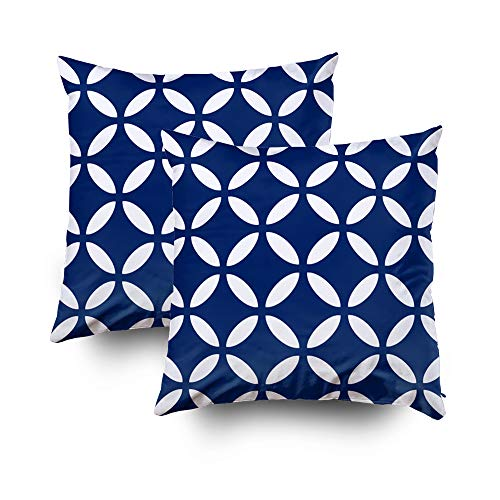 (Capsceoll 2PCS Tuva Pattern Royal Blue Geometric Decorative Throw Pillow Case 16X16Inch,Home Decoration Pillowcase Zippered Pillow Covers Cushion Cover with Words for Book Lover Worm Sofa Couch)