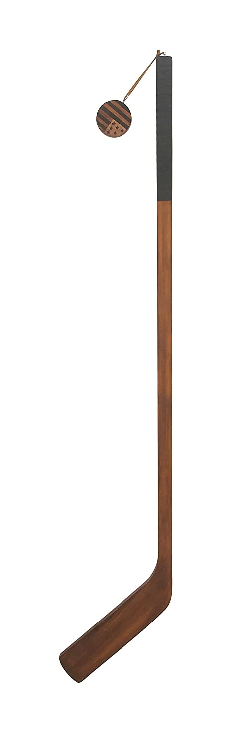 Deco 79 60627 Wooden Ice Hockey Stick Decor, Brown/Black