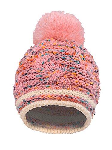 Arctic Paw Girls Chunky Knit Beanie with Yarn Pompom, Pink Speckled