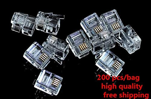 Gimax 200 Pcs 6P4C 4 Pins 4 Contacts RJ11 Telephone Modular Plug Jack ADSL RJ11 - 6p4c Pin