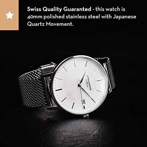 Ambassador Luxury Watch for Men - Heritage 1921 Silver Case with Silver Mesh Strap with Swiss Quality by Ambassador (Image #2)