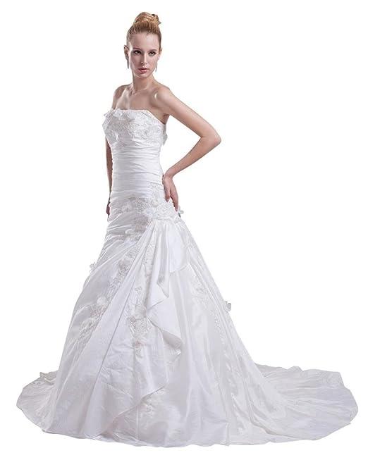 George Bride tafetán volantes asimétrica besetztes boda vestido con aplicaciones Vestidos de novia Vestidos de Boda