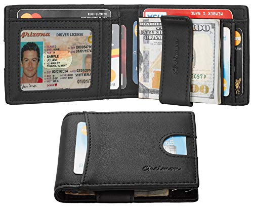 Chelmon Slim Mens Minimalist Wallet Money Clip RFID Blocking Bifold(Black)