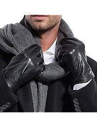 MATSU Men Winter Warm Leather 3 line Black Long Fleece Lined Gloves M1056