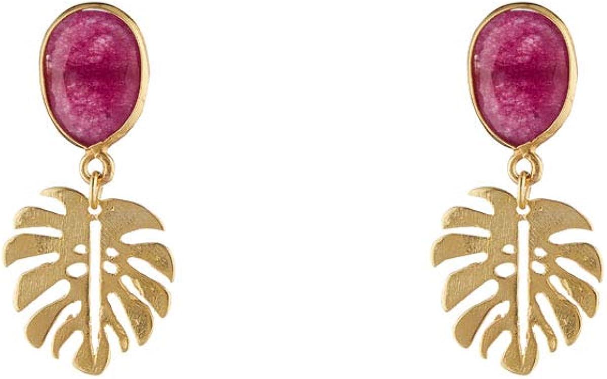 Córdoba Jewels | Pendiente de plata de Ley 925 bañada en oro con piedra semipreciosa con diseño Hoja Kiut Frambuesa Gold
