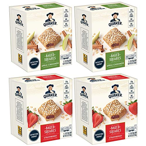 (Quaker Baked Squares, Soft Baked Bars, Apple Cinnamon & Strawberry, 5 Bars (Pack of 4) ( Packaging May Vary ))