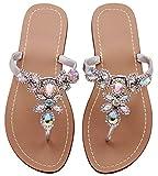 Hinyyrin Flat Sandals for Women Flip Flop Thong Sandals Wedding Silver Size 11.5