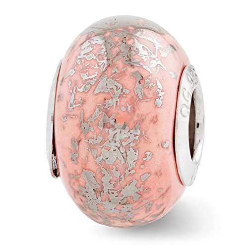 (Sterling Silver Polished Antique finish Reflections Pink With Platinum Foil Ceramic Bead Charm)