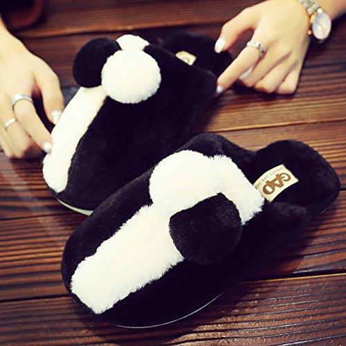 Inverno fankou pantofole di cotone femmina calda coperta morbida antiscivolo home paio di pantofole di cotone scarpe incantevole ,44/45, nero