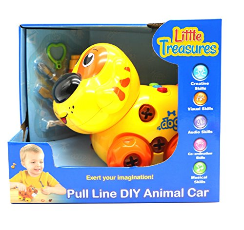 Ver-Baby Childrens Kids Musical Pull Toy Animal Dog Educational Car is Ready for Playtime Build and Play Toy Set