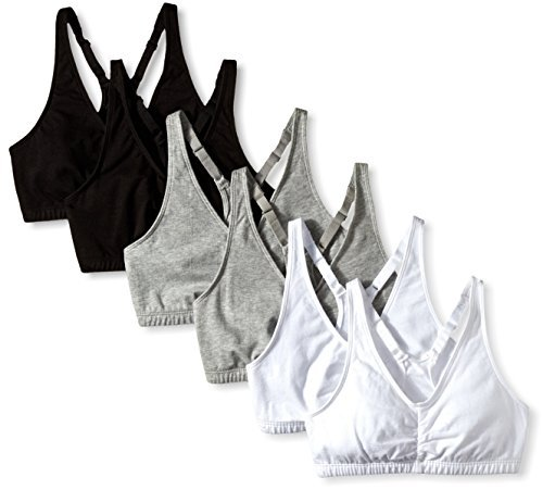 - Fruit of the Loom Women's Shirred Front Sports Bra, Heather Grey/White/Black Hue, 42 (Pack of 6)