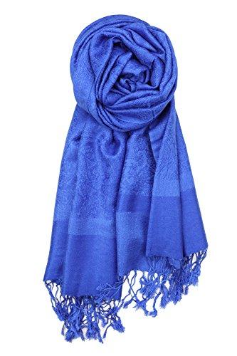 (Achillea Two Tone Vintage Jacquard Paisley Pashmina Shawl Wrap Scarf (Royal Blue))