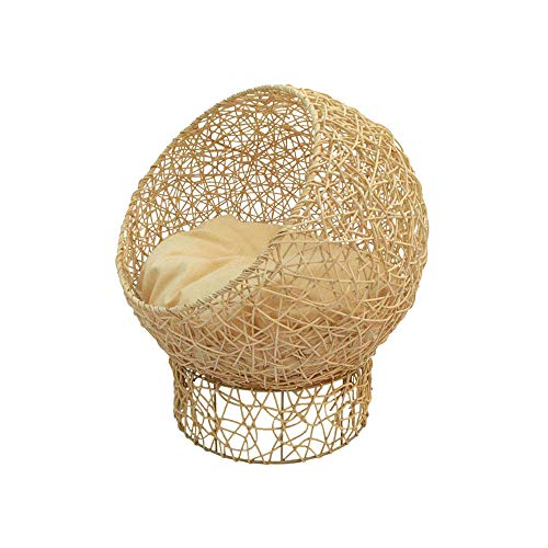 UTOPIAY Handmade Rattan cat Bed/Circular Wicker cat Bed Sofa/Rattan Woven Cat Basket with Soft Cushion,5750cm,Beige