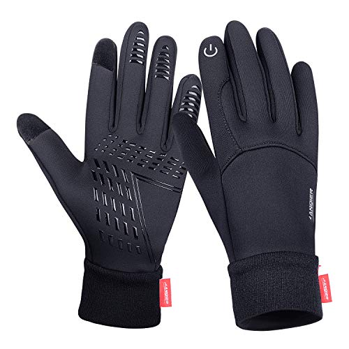 Anqier Winter Gloves,Newest Windproof Warm Touchscreen Gloves Men Women For Cycling Running Outdoor Activities