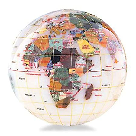 Gemstone Globe Paperweight with Opalite Ocean Color: Opal, Size: 4
