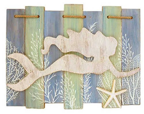 (Barry Owens Swim Mermaid Slat Sign with Raised Mermaid, Resin Starfish and Rope Accent 0179 15.25 Inches x 11.25 Inches)