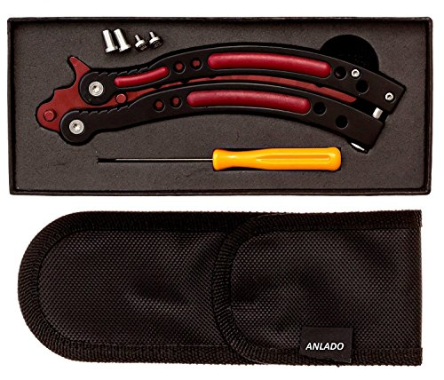 Anlado Balisong Cs Go Butterfly Knife Trainer - Red Color - no Offensive Blade - Durable