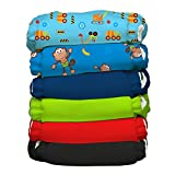 Charlie Banana 6 Piece Diapers with 12 Inserts, Organic Monkey Business