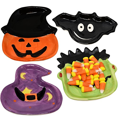 4 Pack Halloween Ceramic Candy Dish Bowls Trick or Treat Party Table Supplies Decor By Gift Boutique