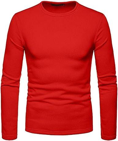 Creativo Moda Camiseta DIY navideña Camiseta básica de Manga Larga para Hombre con Cuello Redondo 2019 Nueva otoño e Invierno Color sólido Sudadera para Hombre Jersey (XL, Rojo): Amazon.es: Ropa y accesorios