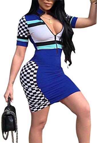 Delle Domple Splicing Blu Abito Mini Clubwear Scacchiera Cerniera Bodycon Donne g0PqPH