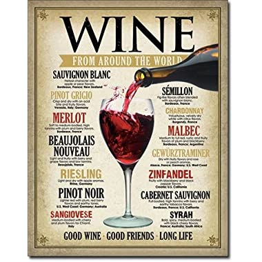 Wine Around the World Tin Sign 13 x 16in by Desperate Enterprises