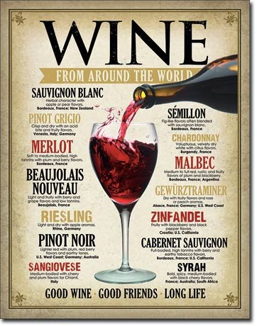 Wine From Around the World Novelty Tin Sign