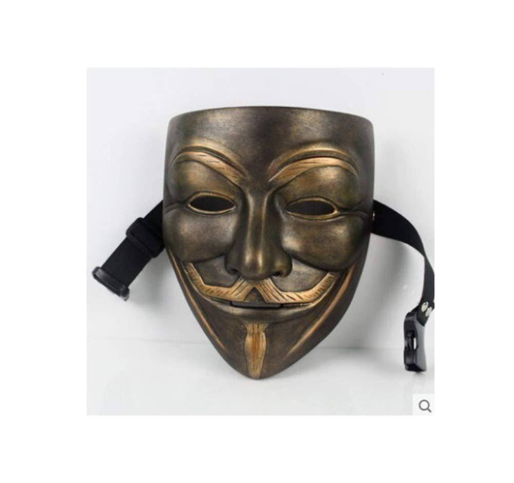 Bronze ZSEA HalFaibleeen Bathomme Résine CFaiblen Masque Chevalier Noir V Mot Vendetta Danseur Vibrant Perforhommece Props (Couleur   A)