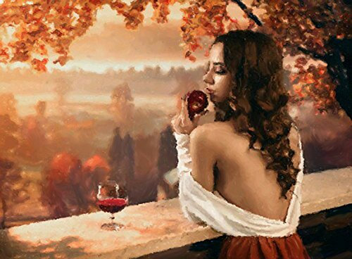 - WOMAN WITH APPLE AND WINE - Art Painting on Giclee Canvas 16x20