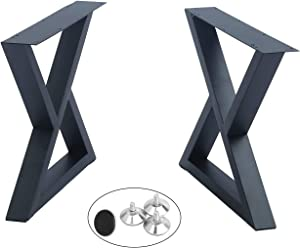 "2 Pcs Furniture Legs Rustic Decory Triangle Shape Table Legs,Heavy Duty Metal Desk Legs,Dining Table Legs,Industrial Modern, DIY Iron Bench Legs (24"" Height)"