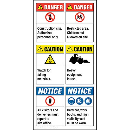 """Site Board Construction Sign - J. J. Keller & Associates - 22.5"""" x 46"""" Permanent Self Adhesive Vinyl with Rounded Corners - Complies with ANSI Z535.2-2011 and OSHA 29 CFR 1910.145, 1926.200"""