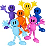 Neliblu Why Worry? Be Happy! Bulk Toys 1 Dozen Smiley Face Men Bendables - Smile Face Bendable Figures - Party Favors - Goody Bag Stuffers - Pinata Fillers By