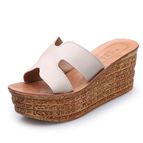 ZPPZZP Ms sandali pantofole spessa a tacco alto stile Coreano 37EU bianco