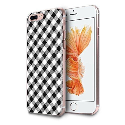 HelloGiftify iPhone 7 Plus/iPhone 8 Plus Case, Black and White Plaid Pattern TPU Soft Gel Protective Case for iPhone 7 Plus/iPhone 8 Plus