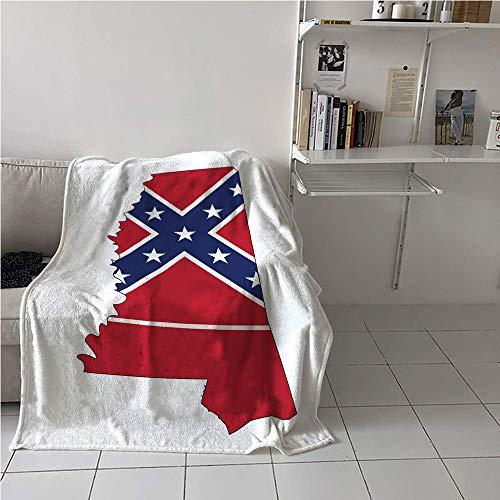 Suchashome Mississippi Party Blanket,Magnolia State Map with Flag Outline United States Print,Print Summer Quilt Comforter,All Season Blanket 57