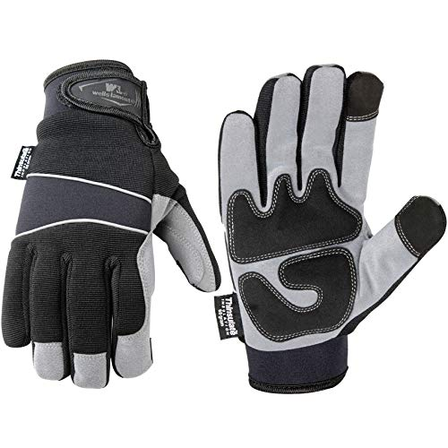 Men/'s HydraHyde Leather Winter Work Gloves 60-gram Thinsulate Spandex Back Large