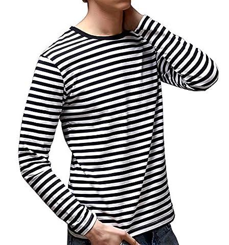 Men's Long Sleeve Crew Neck Cotton Stripe Tee Shirt - Breton Stripe