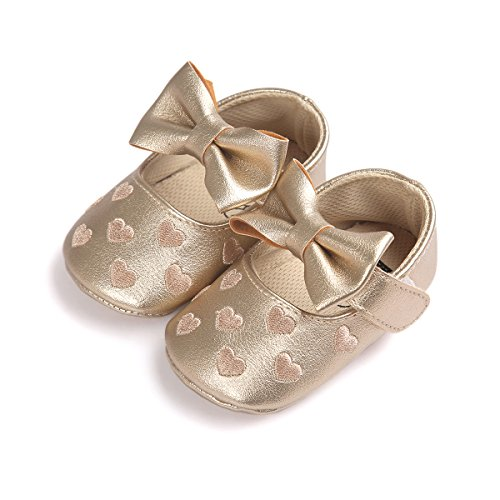 mesi pelle 0 Sole Baby Shoes auxma Pantofole per Bowknot Soft 18 Girl Gold in Slipper Bambino xnYqn6wpg